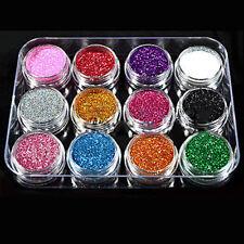 12 Pcs Mixed Color Glitter Dust Powder Set for Nail Art Acrylic Tips Convenient
