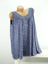 Shirt + Kette Top Tunika Lagenlook Größe 46 - 52 one size blau bunt geblümt w