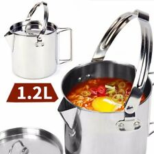 1.2L Stainless Steel Outdoor Picnic Camping Hanging Pot Cooking Kettle With Lid