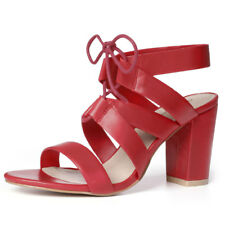 Women Chunky High HEELS Cutout Detail Lace up Sandals Red US 8