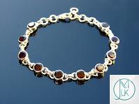 Solid 925 Sterling Silver Garnet Natural Gemstone Elegant Bracelet Quartz