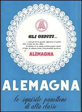 PUBBLICITA' 1952 PANETTONE ALEMAGNA ALTA CLASSE  DOLCE RAFFINATO NATALE CAKE