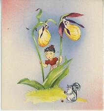 Vintage Wee Folk Child Girl Lady Slipper Flower Squirrel Mammal Acorn Print Card
