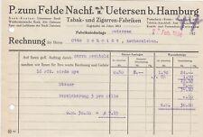 UETERSEN, Rechnung 1924, P. zum Felde Nachf. mbH Tabak-Zigarren-Fabriken