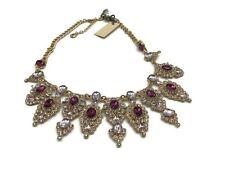 Hermoso Colgante Collar de diamantes de imitación de púrpura SPARKLE Gold tone diseño de seis NUEVO con etiquetas