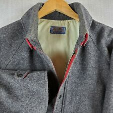 PENDLETON Size Large Made in USA Mens Gray 100% Wool Snap Out Hooded Jacket Coat