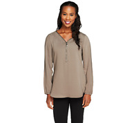 Edge By Jen Rade Zip Front Top Size 4 Truffle Color