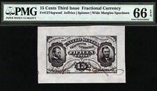 FR1274 15 Cents Third Issue Fractional Currency Wide Margin Specimen TIED FINEST
