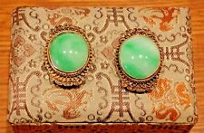 Pair Vintage Dress Clips Green Jade Cabochons 7/8 in x 3/4 in (23mm x 19mm)