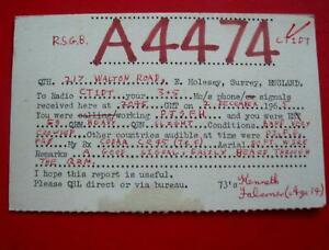 Kenneth Falconer Molesey QSL Amateur Radio Card Kingston Grammar Corpus Christi