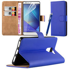 Wallet Flip Book Stand View Case Cover for Alcatel & Huawei Mobile PHONES Huawei P9 Blue