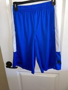 Boys Loose Blue & White Under Armour Athletic L Shorts Sz YXL