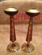 Vintage Pair Of Matched Brass Enamel Candle Holders Boho Chic Made In Israel