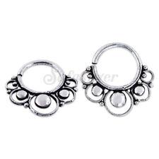 Sterling Silver Septum Clicker Nose Ear Ring Captive Bar Septum Piercing 2pcs