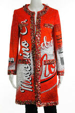 Moschino Couture Multi-Color Mocola Drink Up Graphic Print Applique Detail Coat