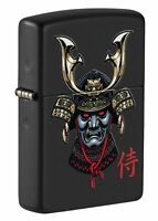 Zippo Samurai Helmet Design Black Matte Windproof Pocket Lighter, 49259