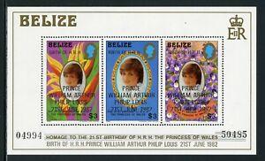 Belize Scott #634 MNH S/S OVPT Prince William of Wales on Princess Diana CV$12+
