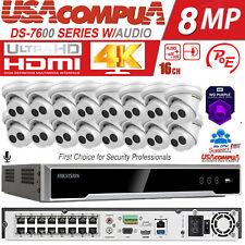 Hikvision 4K 16CH 8MP 16 POE Security Camera System W/Audio DS-2CD2383G0-IU Lot