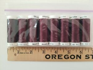 NIP Lot of 8 Machine Sewing Thread SULKY 40 Rayon 250yd/225m Each BROWN BROWNS