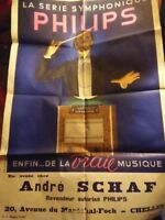 Original French Poster Advertising Radio Philips Signed FIRCSA