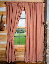 "Country Primitive  BURGUNDY & TAN Lined Panel Curtains - 84""L"
