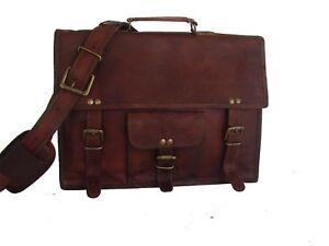 Messenger bag leather women men shoulder laptop briefcase mens satchel brown bag