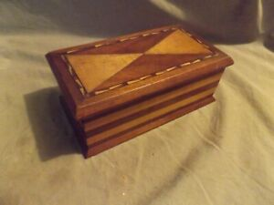 Vintage Antique Marquetry Inlaid Storage Box Well Made w Glue Repair As Is
