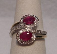 Alwand Vahan~Natural Ruby & Diamond Bypass 14K YG & 925 Sterling Silver Ring 7