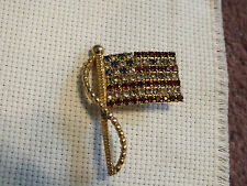 Red White Blue Rhinestones Signed Rafaella Collectible Brooch Pin Flag Gold Tone