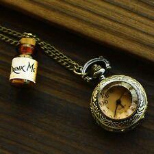 Vintage Drink Me Bottle Pocket Watch Pendant Alice In Wonderland Necklace Gift