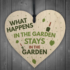 What Happens In The Garden Hanging Wooden Heart Plaque Gardening Sign Gift shed