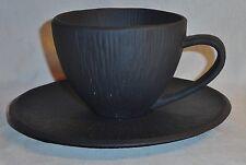 Black Textured Porcelain Africana Pattern Michael Aram Teacup Coffee Cup Saucer