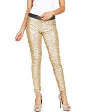 Long Casual Trouser Skinny Pants Sequins Gold Bling Clubwear Legging US Womens M