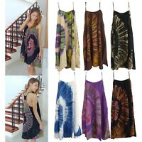 Women Tie Dye Mini Dress Summer Boho Bohemian Tunics Beach Cover Hippy Rayon TD