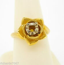 Ring 14k yellow gold mounting solitaire flower rose shape finger size 7
