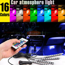 4pcs Car Interior Atmosphere Neon Lights Strip 9LED Wireless IR Remote Control