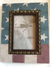 USA Flag Concrete Frame For 4X6 Photo Bill Stross DEMDACO Americana Red Blue