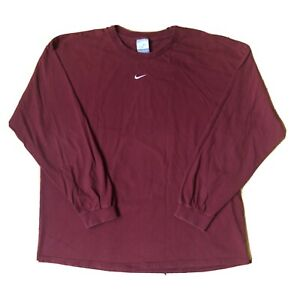 Vtg 90s Y2K Nike Center Swoosh Silver Tag Made in USA Long Sleeve Maroon Red XXL