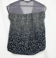 Forever 21 Black Gray Leopard Print Silky Short Sleeve Top S V-neck Unique