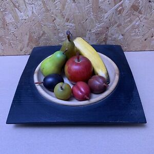 Vintage Ash Wood Bowl & 8 x Carved Wooden Fruit Banana Apple Pear & Plums