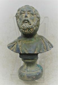 CIRCA 200 - 300 AD ANCIENT ROMAN BRONZE BUST STATUE OF SENATORIAL FIGURE