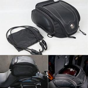 Universal BLACK Motorcycle Rear Bag Tail Helmet Pack for Honda Victory Suzuki
