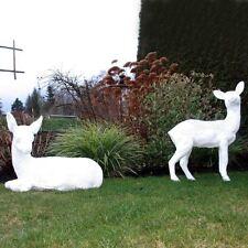 SET REH liegend & stehend weiß Garten Deko Figur Tiere Wald ROT WILD Dekoration