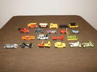 VINTAGE LESNEY MATCHBOX HOT WHEELS ZYLMEX ERTL 20 TOY CARS  VANS TRUCKS LOT