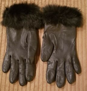 WOMENS WILSONS GENUINE LEATHER SIZE SMALL FUR TRIMMED ACRYLIC LINED EX COND