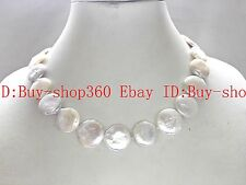 18-20mm white coin shape GENUINE CULTURED freshwater pearl necklace 17''