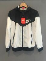 Nike Women Men Windrunner Windbreaker Black & White Sport Hooded Sweater Jacket