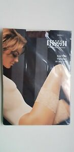 WOLFORD SATIN TOUCH 20 den STAY-UP hold ups S small COCA dark brown satin sheen