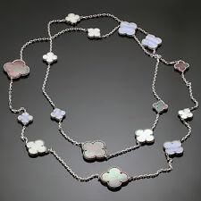 VAN CLEEF & ARPELS Magic Alhambra 16 Motif Chalcedony Mother-of-Pearl Necklace