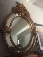 Large Antique Ornate  European Style Gold Leaf Oval Wall Mirror